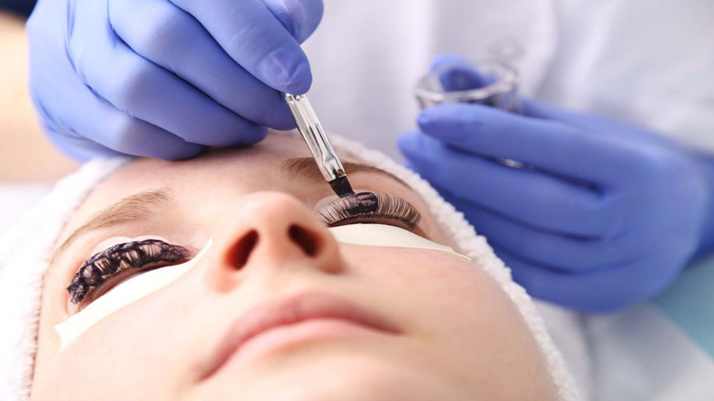 Lady Getting Her Eyelashes Done-Permanent Makeup