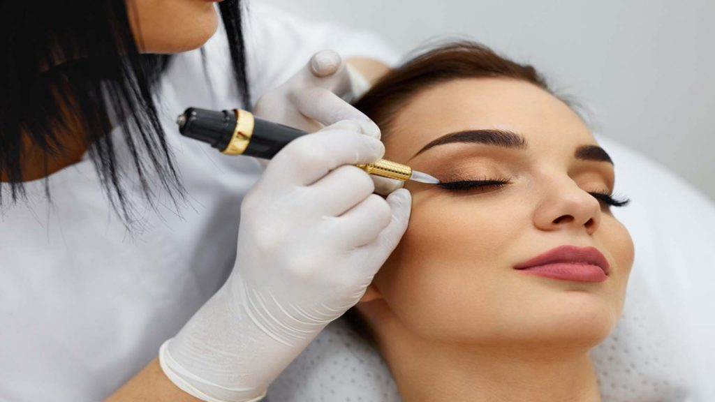 Lady Getting Her Eyelids Done-Permanent Makeup