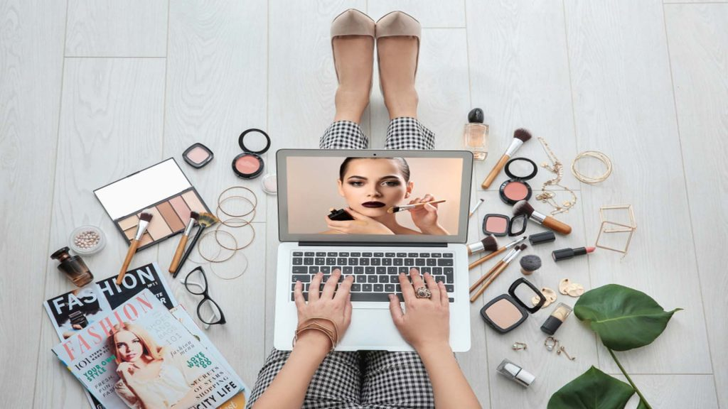 Lady On Computer With Makeup Around Here-Permanent Makeup